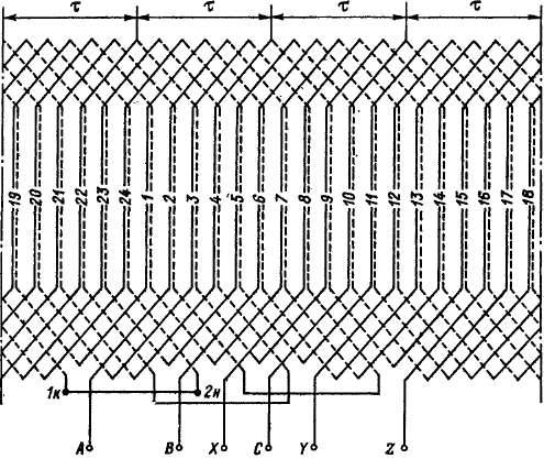 Схема трехфазной двухслойной
